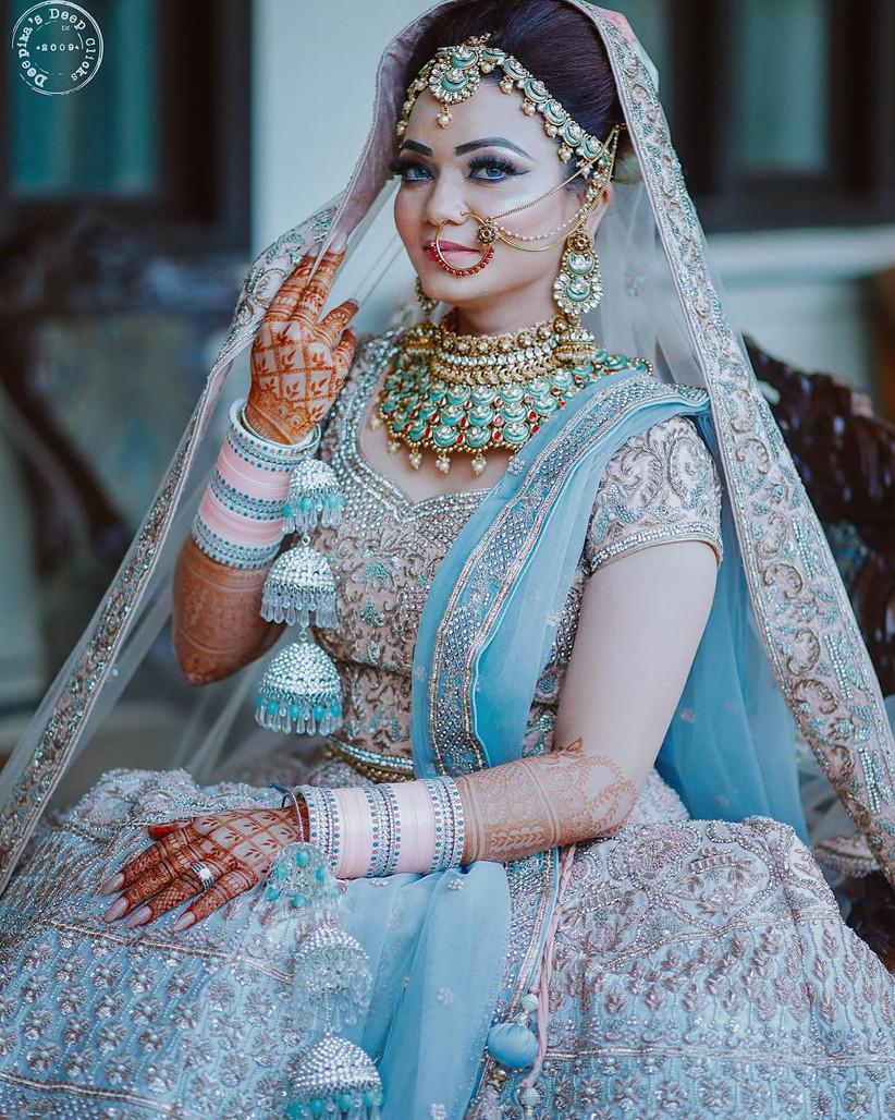 Sky blue latest chura design for the bride