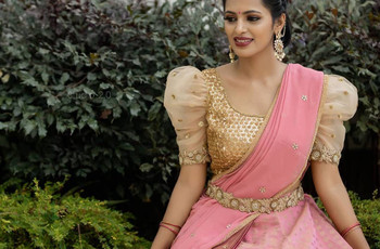 10 Wedding Day Pattu Half Saree Designs for South Indian Brides