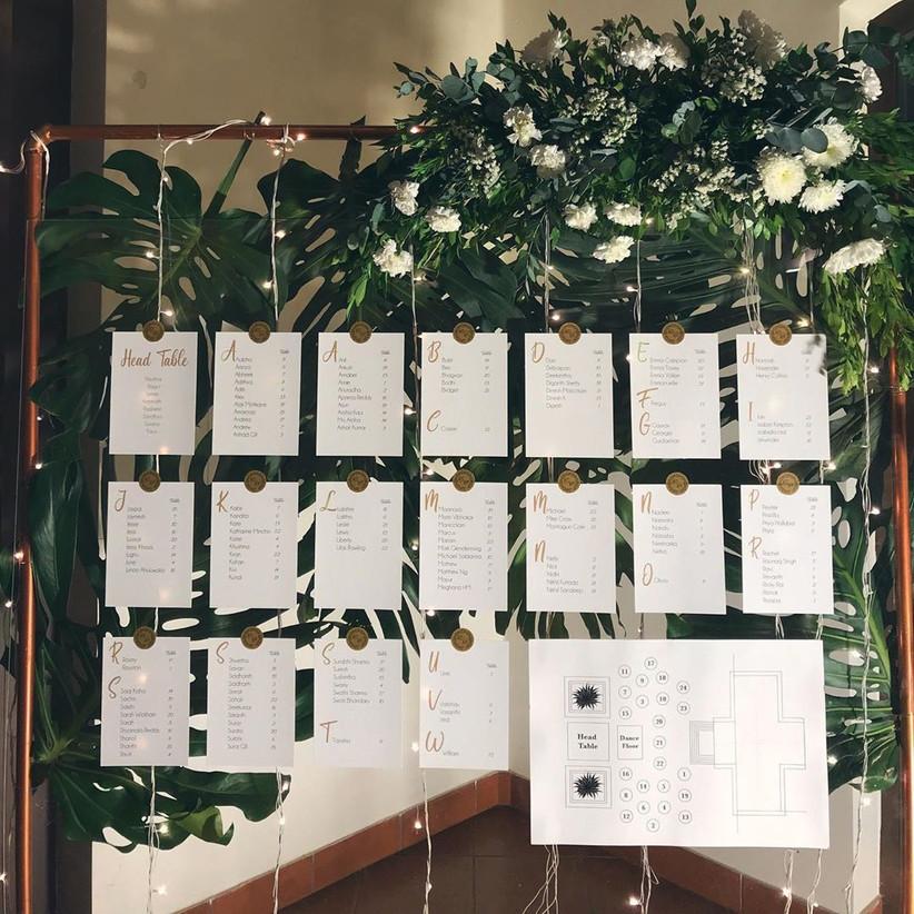white wedding seating charts