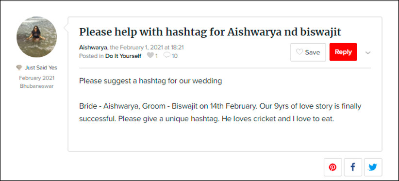 Hashtags for Aishwarya and Biswajit by WeddingWire India