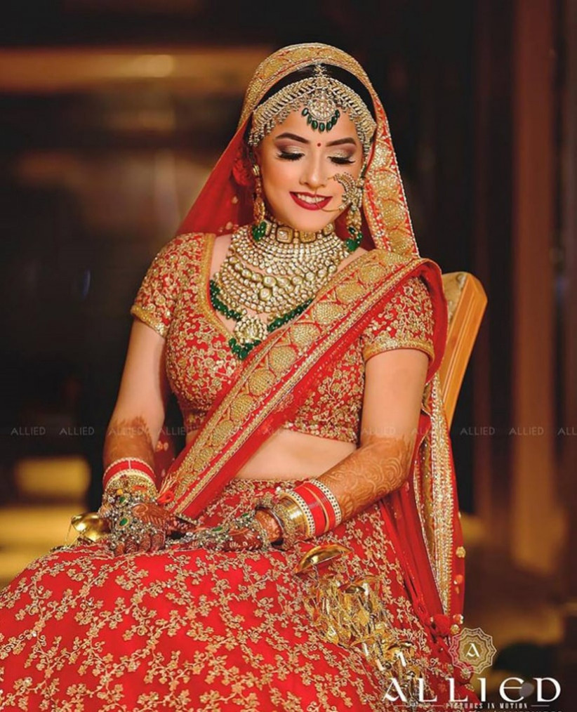 23d32628bf Take Inspo from These 12 Stunning Blood Red Bridal Lehenga Images ...