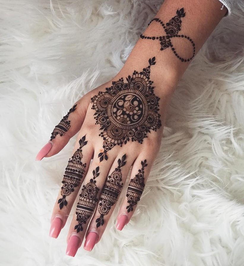 Mandala Motifs Mehendi design for Muslim brides