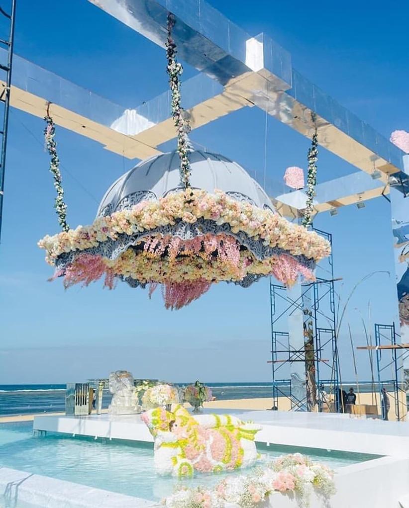 Elegant Floating Mandap Styles For Your Wedding, floating mandaps indo weddings italy beach shorejpg