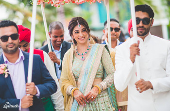11 different ways you can style a sea green lehenga for the fun and funky bride