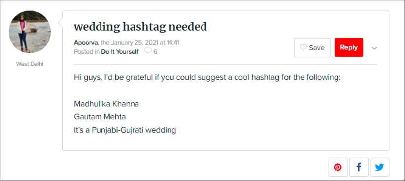 Hashtags for Madhulika Khanna and Gautam Mehta by WeddingWire India