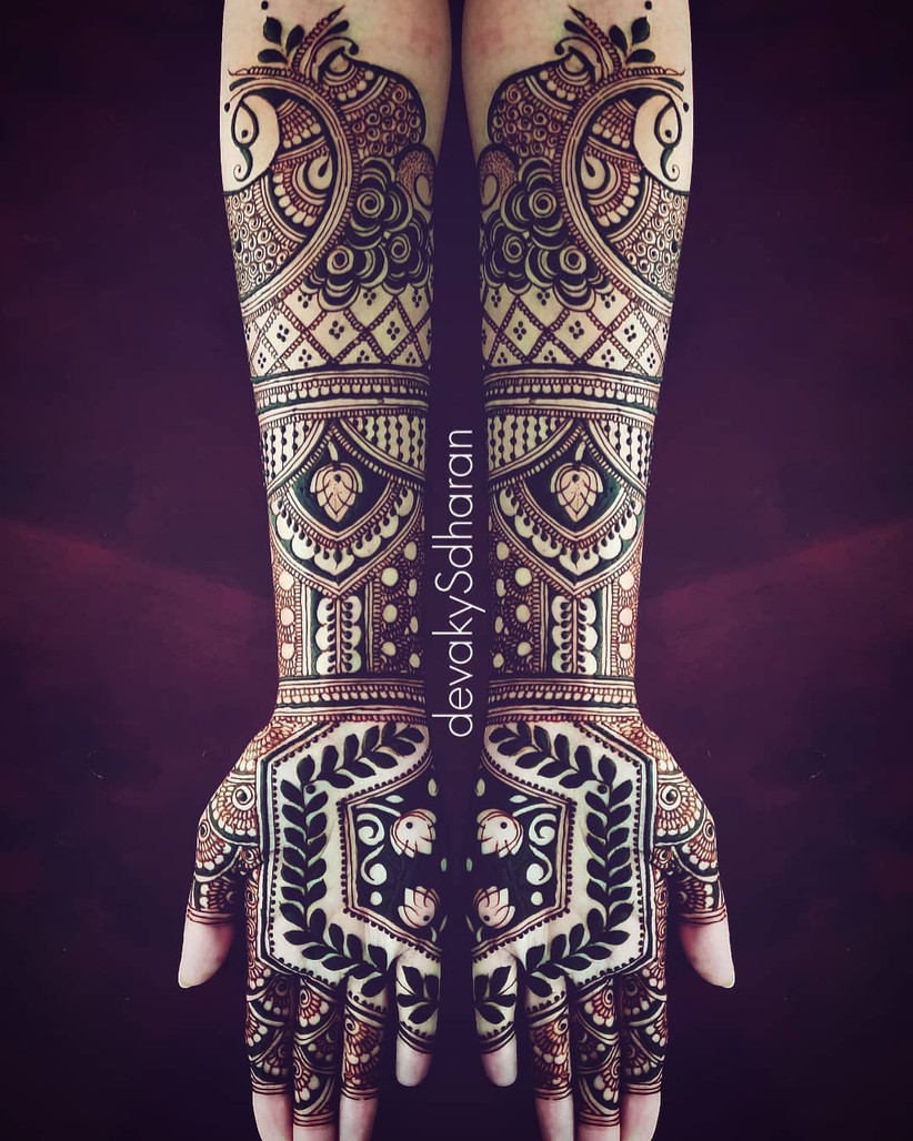 Half and Half Bridal Mehndi Design