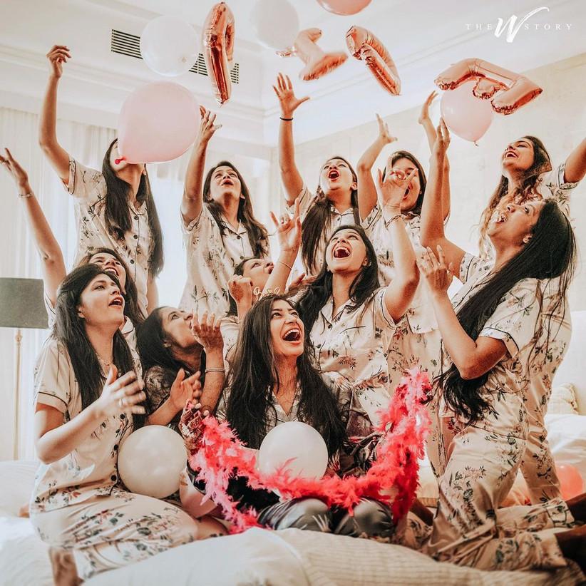 Gang of girls posing happily