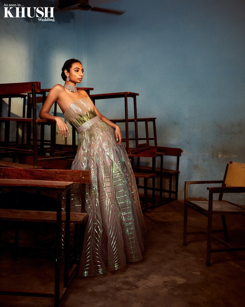 Amit Aggarwal engagement dress gown