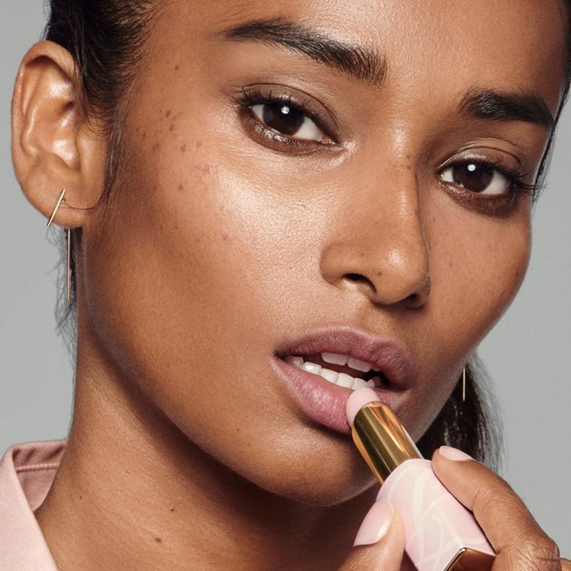 Model with Estee Lauder Lipstic