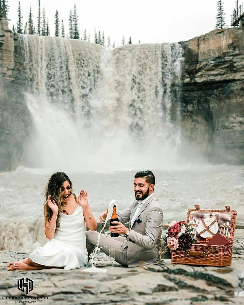 Champagne pre wedding photoshoot poses