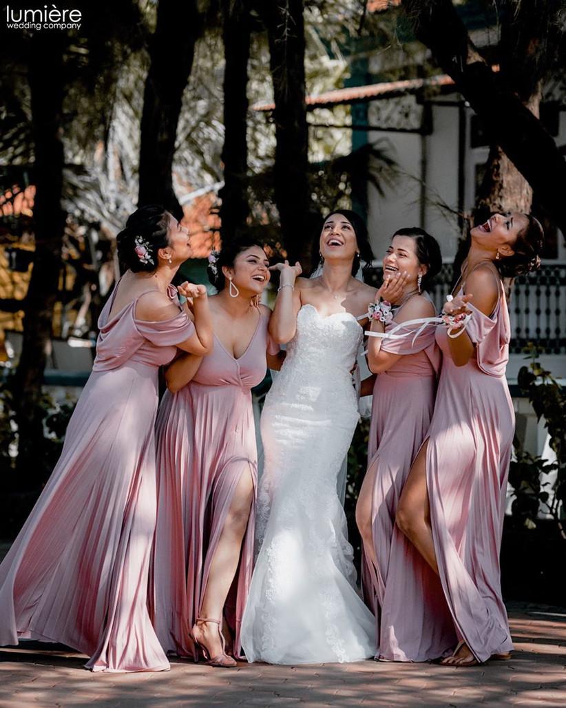 Laughing gang of girls