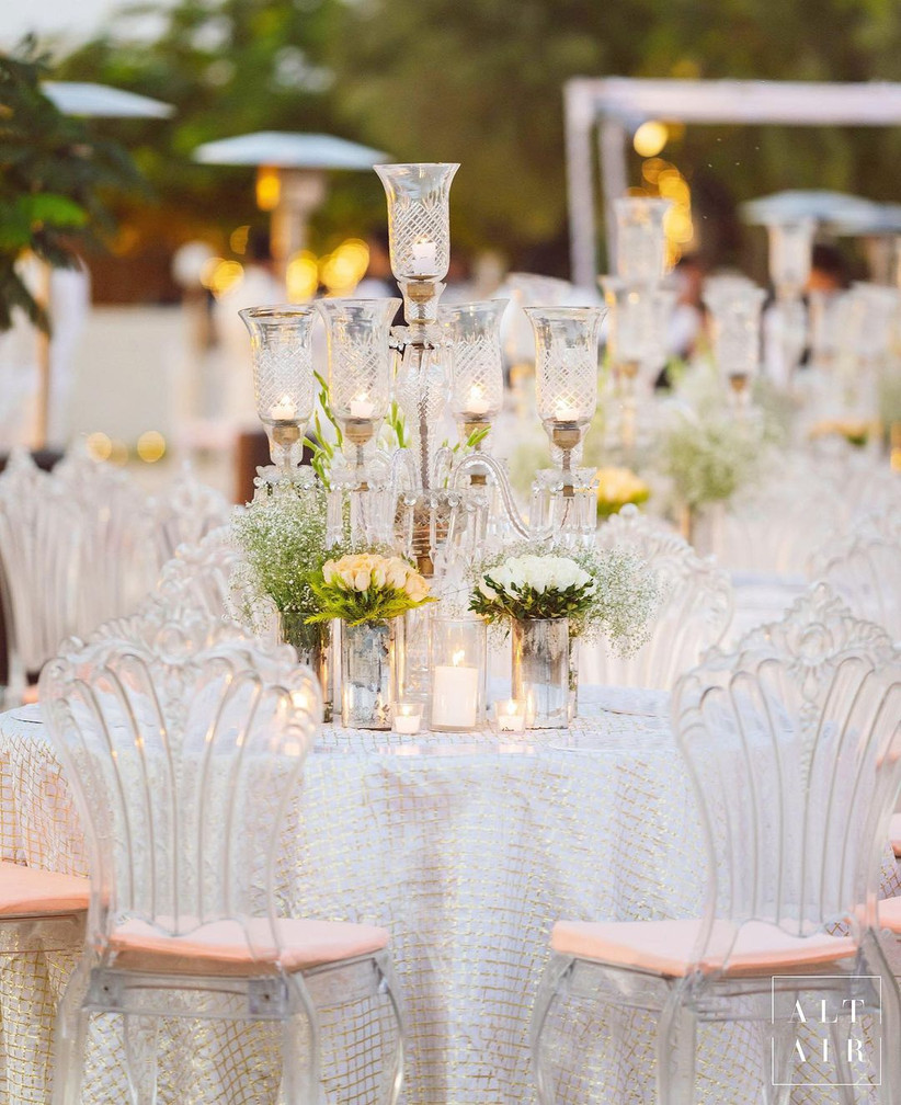 white wedding decoration by Altair Decor