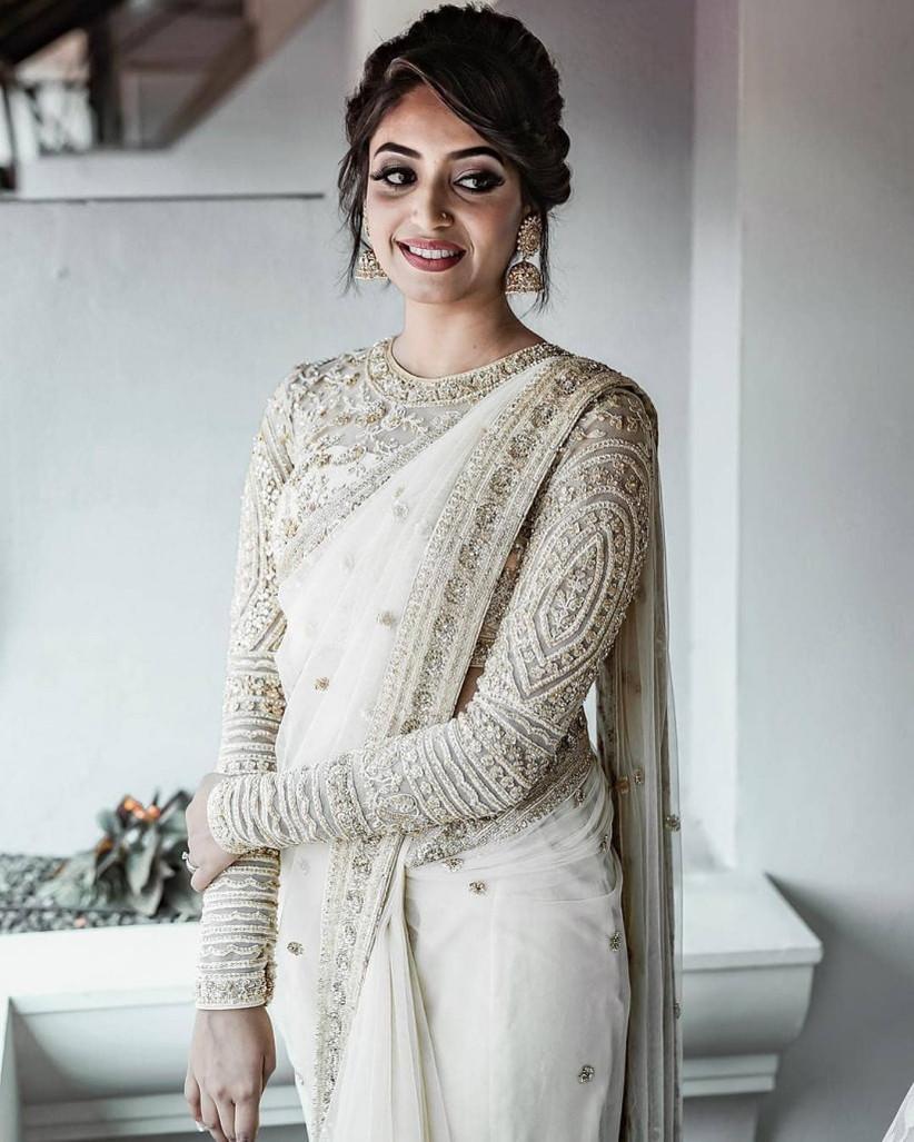 Wedding Saree And Hair Style: D-Day Calls For A Bold Move With A White Saree For Wedding