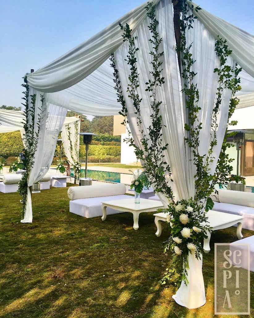 white wedding mandap