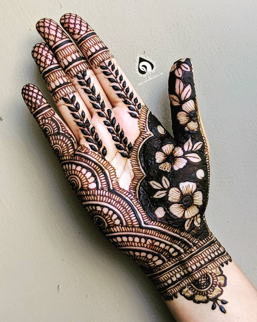 simple mehndi designs for palm only
