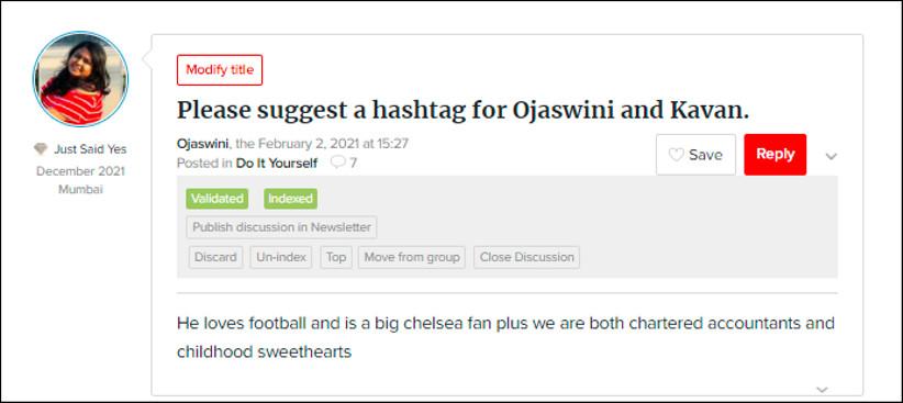 Hashtags for Ojaswini and Kavan by weddingwire india