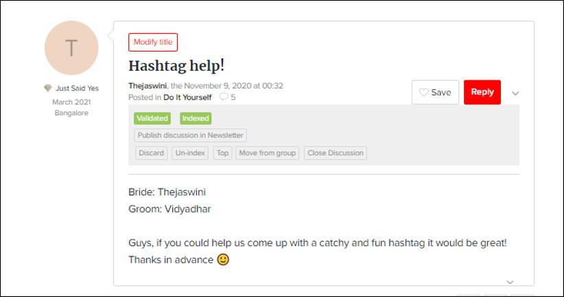 Hashtags for Thejaswini and Vidyadhar by WeddingWire India