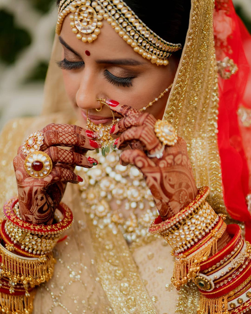 Red and golden chura set for the brides