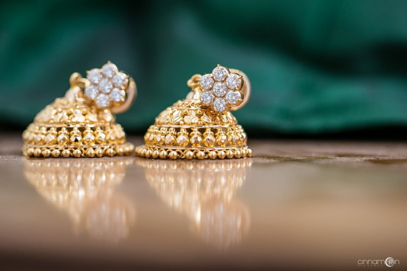 Jhimki is a gold earring that often purchased as a set with one of the bridal necklaces.