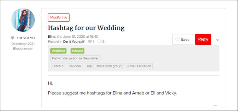Hashtags for Elina and Arnabby WeddingWire India