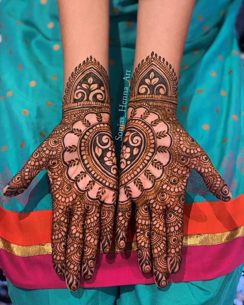 Half and Half Simple Mehndi Design For Front Hand
