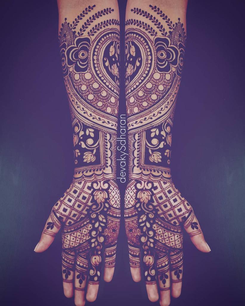 front hand bridal mehndi design