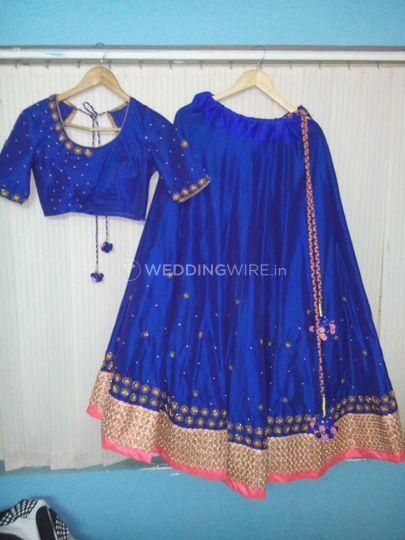 Silk half saree in blue
