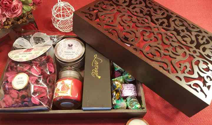 Curated wooden jalli gift box