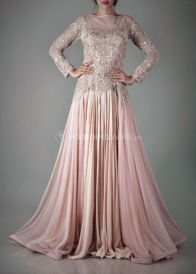 Nude ggt tulle embroidered gown
