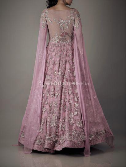 Old rose 3d anarkali gown