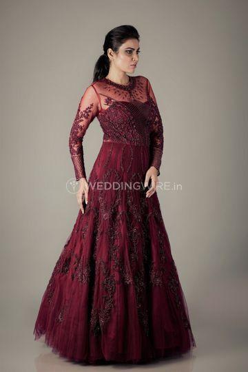 Wine heavy kalidar gown