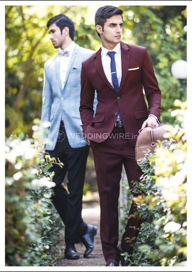 Burgundy worsted wool suit