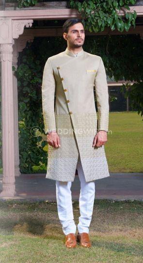 Pista green angarkha sherwani