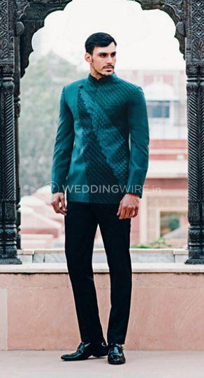 Emerald green bandhgala jacket