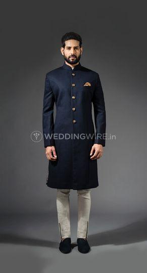 Navy worsted wool sherwani