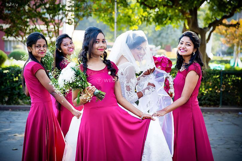 Amidst the pink bridemaids