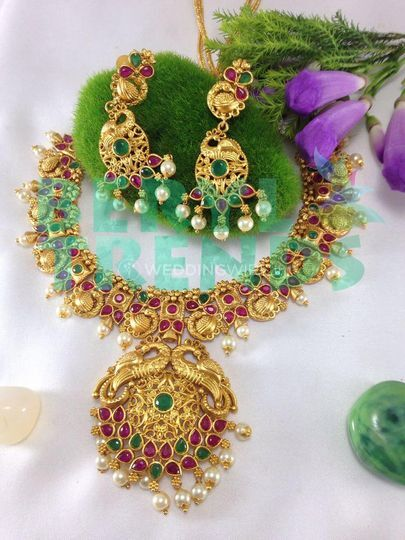 Peacock motif multi necklace