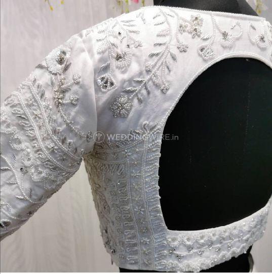 Embroidered silk crop top