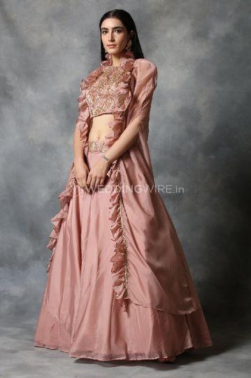 Peach pink Indo-western