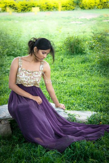 Sequience violet gown