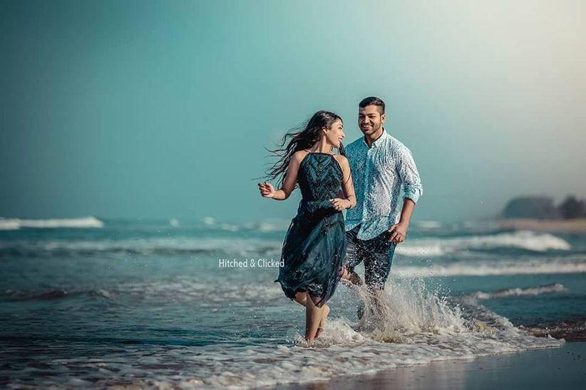 couple having fun in the beach