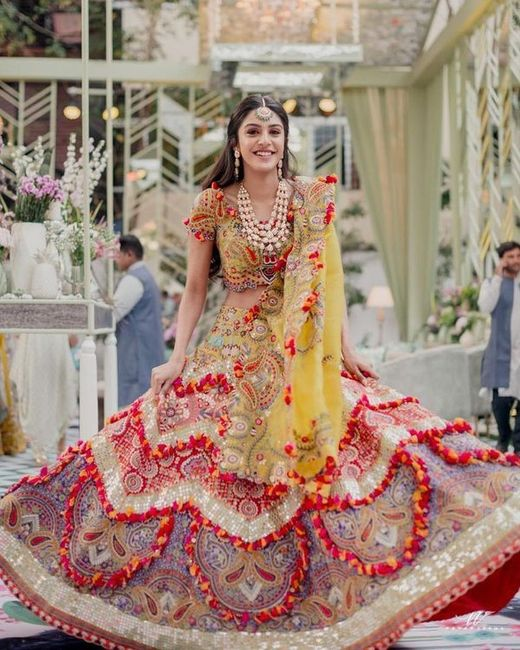 How about wearing one such lehenga on mehndi function? - 1
