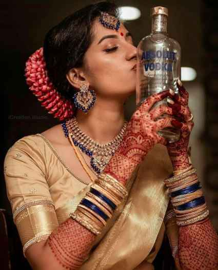 New trend of brides getting clicked with booze? - 1